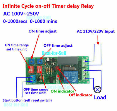 AC 220V 110V Adjustable Cycle Delay Time Timer Relay Module Turn ON OFF Switch