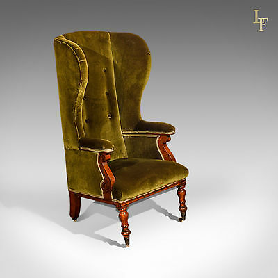 Antique Wing Back Chair, Victorian Porter's Chair, Fire Side, Velvet Armchair