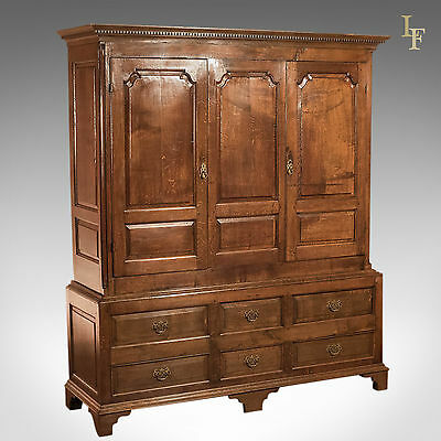 Antique Wardrobe, Georgian Press Cupboard, English Oak Cabinet, Furniture C1800