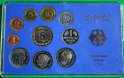 "Germany 1 Pfennig - 5 German marks  Proof Coin Set 1980 ""G"""