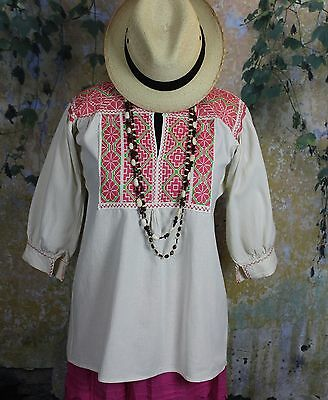 Peach & Lime Green Hand Embroidered Blouse Ejutla Oaxaca Mexico Hippie Peasant