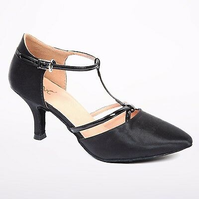 "Latin Ballroom Dance Shoe Women's 2.5"" Black Pointed Closed Toe Size 9.5, 10, 11"
