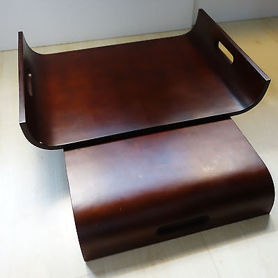 Lot of 2 Contemporary Bentwood Serving Trays Cutout Handles Mahogany Stain