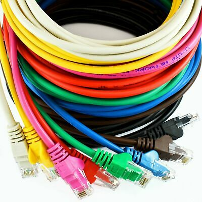 CAT5E Ethernet Network Cable RJ45 Patch LAN Lead Wholesale 0.25m to 50m Colours