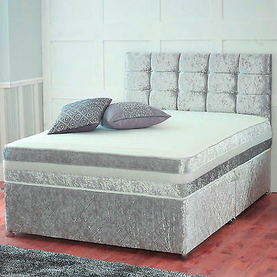 New  Crushed Velvet Divan Bed + Memory Mattress + Headboard 3Ft 4Ft 4Ft6 5Ft