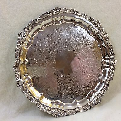 """Vintage Towle Silverplated 12"""" Round Etched Sandwich Tidbit Tray w/Ornate Rim"""