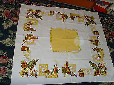 Vintage French Country Cottage Chic Retro tablecloth muskat grapes olive oil