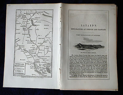 1856 LAYARD'S EXPLORATION NINEVEH BABYLON 1 MAP + illus text antique ephemera