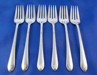 WM Rogers IS 1940 EXQUISITE Salad Dessert Forks Silverplate Flatware Set Of 6