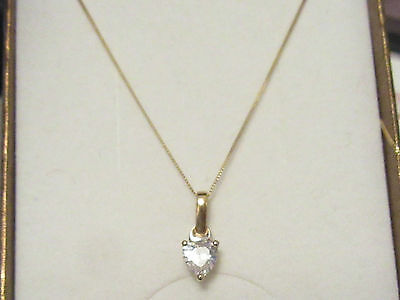 9ct YELLOW GOLD NECKLACE  HEART SHAPED CZ PENDANT