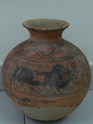 "Ancient Indus Valley Huge Size Teracota Painted Pot With Bulls C.2500 Bc ""t15436"