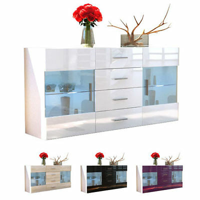 "White High Gloss Modern Sideboard Cupboard Unit Contemporary ""Bari"""