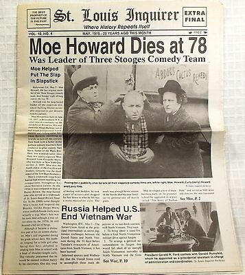 1975 ST LOUIS INQUIRER Moe Howard Dies at 78 Three Stooges comedy legends