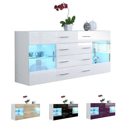 "White High Gloss Modern Sideboard Cupboard Unit Contemporary ""Bari V2"""
