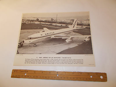 1960's United Air Lines Education Aviation 1960 Boeing 720 Jet Photo Print
