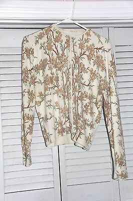 Vintage Floral Sweater - Brown Flowers 1950's 1960's Button Up Cardigan
