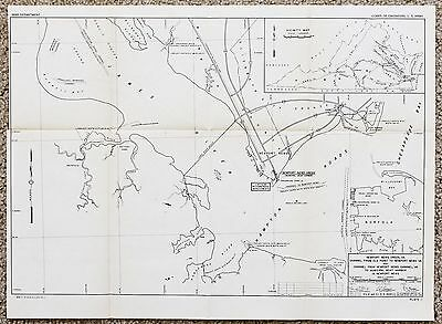 1945 Newport News Virginia Map Chesapeake Bay Norfolk Hampton Roads Original