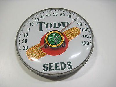 Old Antique Vintage Todd Hybrid Corn Seed Thermometer Farm Advertisement Sign