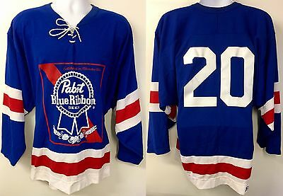 Pabst Blue Ribbon Beer Hockey Jersey #20 Men's Large CCM Clean No Damage