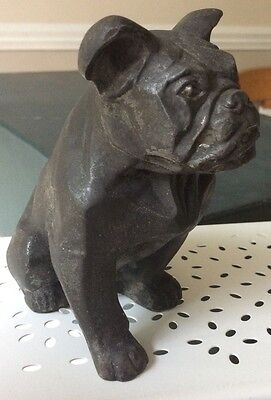 RARE HOLLOW SPELTER BULLDOG,SIGNED BY THE  ARTIST IRENEE ROCHARD 1920-1930 c