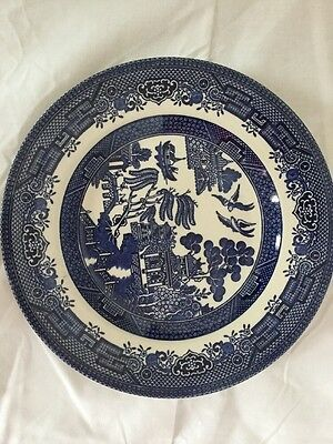 STAFFORDSHIRE CHURCHILL BLUE WILLOW PLATE 20cm