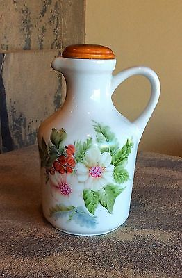 Vtg Deruta Italy Dipinto A Mano White Porcelain Hand Painted Floral Oil Pitcher