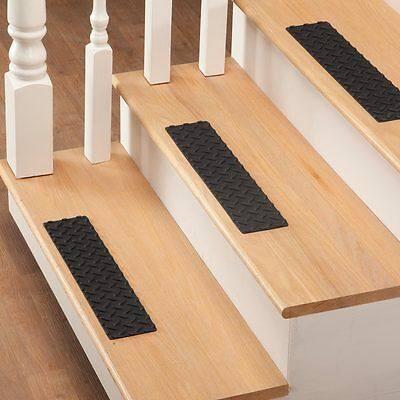 Set of 3 Pcs Stair Treads Rubber Step Mats Indoor Outdoor Non Slip Floor Cover
