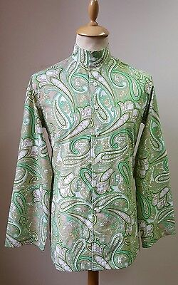 1960s Style Mens Paisley Kaftan Shirt Green Psychedelic Vintage Retro Nehru