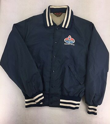 Vintage USA Amoco Research Center Oil Service Gas Station Jacket Sz Large #0593