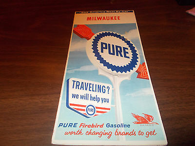 1964 Pure Oil Milwaukee Vintage Road Map