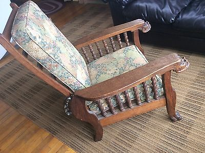 Antique Reclining Morris Chair Arts & Crafts Mission Oak Lion Head Claw Feet