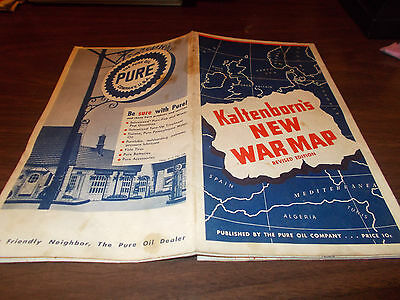 1940 Pure Oil Kaltenborn's New War Map Vintage Map / Rare !!