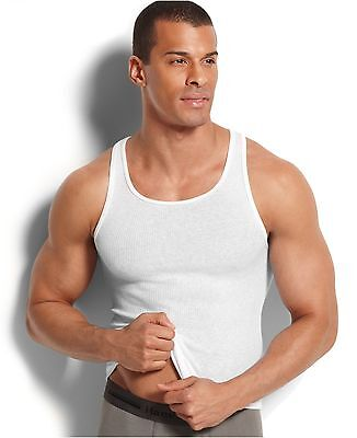 e35a501d2a139b  60 HANES MenS 2 PACK Sleeveless TANK TOP SHIRT White Cotton Ribbed  UNDERSHIRT M