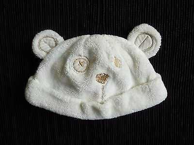 Baby clothes UNISEX BOY GIRL 0-3m cream fleecy cotton-lined bear hat SEE SHOP!