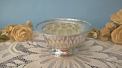 Silver Plated Rose Bowl With Glass Frog Made In England