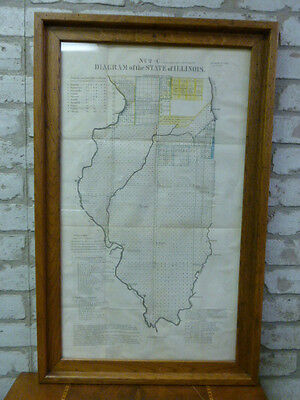 1837 Illinois Surveyors Diagram (Map) Showing Completed &  Uncompleted Surveys