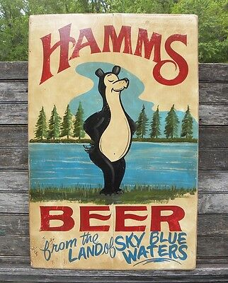 Hamms Beer  Sign wooden vintage  hand painted art original decor  brewery mn