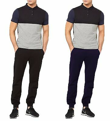 Mens Black Navy Blue Tracksuit Bottom Jogging Pants Cotton Tapered Fit Joggers