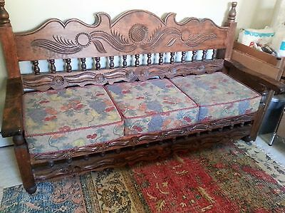 Beautiful Mint Wood bench hand carved in Mexico