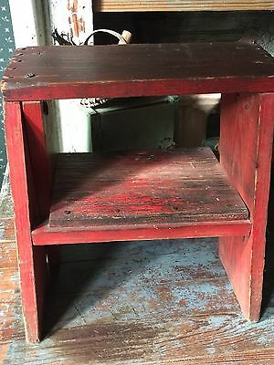 Early Primitive AAFA Antique ORIGINAL Red PAINT  Stool Riser Bench - AWESOME