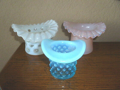 Lot of 3 Vintage Fenton Glass Blue Pink & White Top Hats - Excellent
