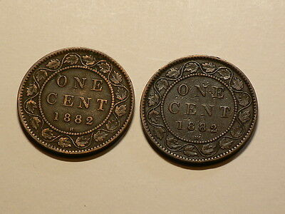 Canada, Lot of 2, 1882 Large Cents, Obverse #1 & 2  Varieties #G3438