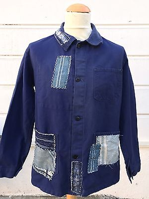 Vintage French Work Wear Chore Distressed Patched Jacket 42