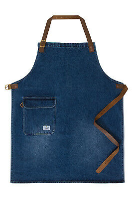 USKEES CHORLTON Denim Bib Apron - Stonewash chef waiter barista apron leather st