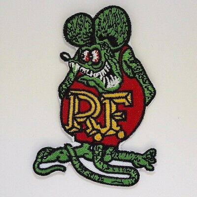 Ratfink Patch - Iron On Badge Embroidered Motif - RF TV Biker Rat Fink #297