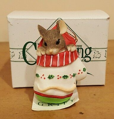 "Charming Tails ""Mackenzie in Mitten Ornament- Retired 1997 Dean Griff NIB"