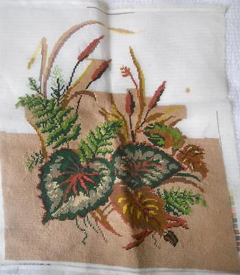 Vintage 2/3 Worked Tapestry Canvas Leaves Ferns Bullrushes No Yarn Included