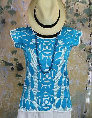 Turquoise & White Hand Embroidered Huipil Jalapa Mexico Fiesta Hippie Cowgirl