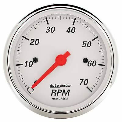 Autometer 1398 Tachometer Arctic White 0-7,000 rpm 3 1/8 in. Analog Electrical E