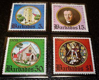 1975 Set of 4 Barbados Stamps Anglican Sesquicentennial Scott # 420 to 423 MNH